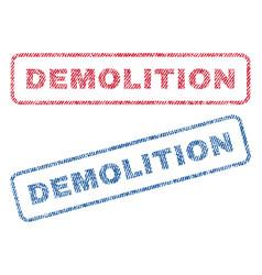 Demolition textile stamps vector