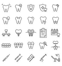dental medicine line icons set outline dentistry vector image