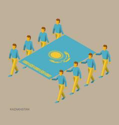 eight people hold big flag of kazakhstan vector image