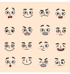 Facial mood expression icons set vector image
