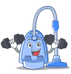 fitness vacuum cleaner character cartoon vector image
