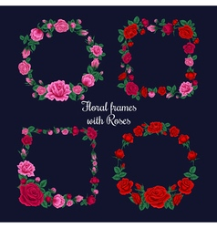 Frames and Tags with Roses vector image
