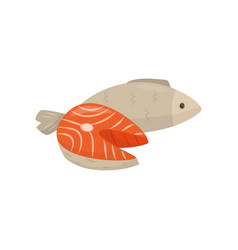 Fresh sea fish fresh healthy seafood vector
