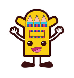 Full color happy colored pencil kawaii with arms vector