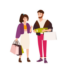 funny couple carrying shopping bags and boxes vector image