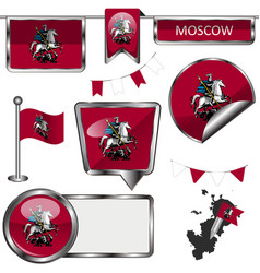 Glossy icons with flag of moscow vector