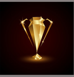 Golden polygonal champions cup abstract low poly vector