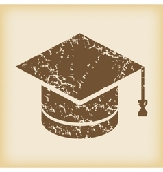 Grungy academic hat icon vector