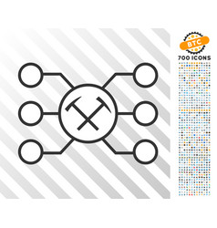 Hammers pool nodes flat icon with bonus vector