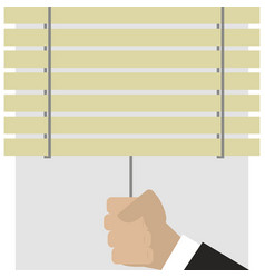 Hand closes blinds vector