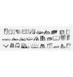 hand drawn books doodle set vector image