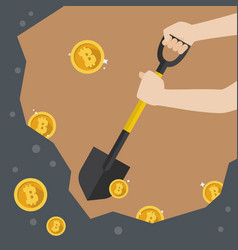 hand hold shovel digging for bitcoin vector image
