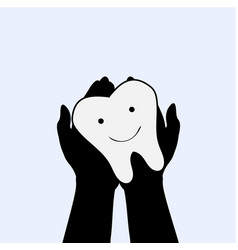 hands hold tooth world dentist day stomatology vector image