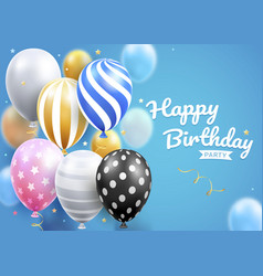happy birthday card party with balloons set vector image