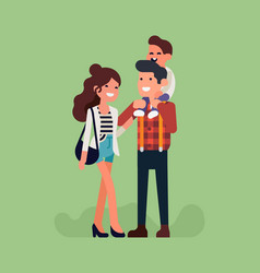 happy young adult parents with bachild vector image