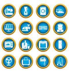 Household appliances icons blue circle set vector