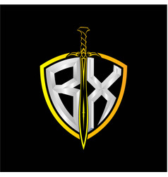 Initials b x is a shield decorated vector
