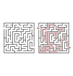 labyrinth game way square maze simple logic game vector image