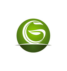 Letter g green eco vector