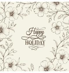 Linum floral frame vector image
