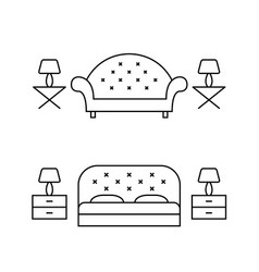 Living room and bedroom line art layouts vector