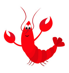 Lobster with claw cute cartoon character funny vector