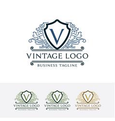 logo vintage shield with letter v vector image