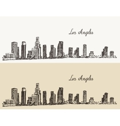 Los Angeles skyline California vintage engraved vector image