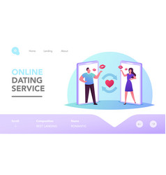 Man and woman dating online landing page template vector