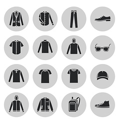 Mens Clothing icons and accessories vector image