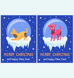 merry christmas and happy new year dog symbol vector image