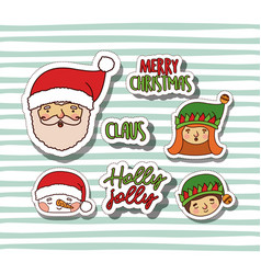 merry christmas with stickers faces of santa claus vector image