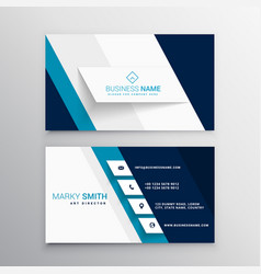 Modern blue and white business card template vector