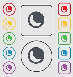 Moon icon sign symbol on the Round and square vector