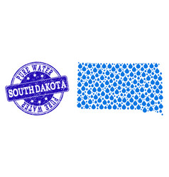 Mosaic map of south dakota state with water tears vector