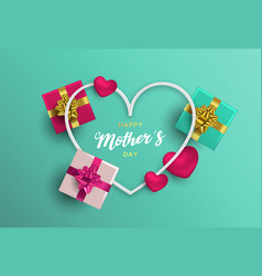 Mothers day card of pink decoration for mom love vector