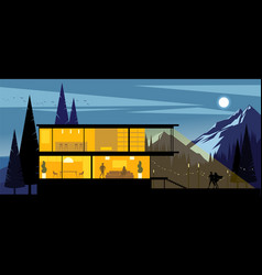Mountain ranch at night background vector