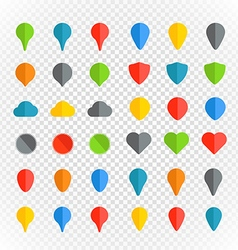 Navigation pins color collection on transparent vector image