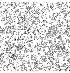 new year 2018 hand drawn outline festive seamless vector image