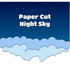 Paper cut with night skycloud vector