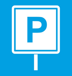 Parking sign icon white vector