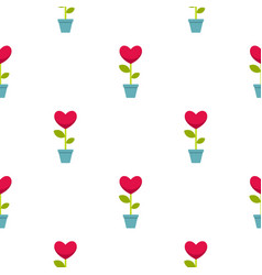 Pink heart flower in a pot pattern seamless vector