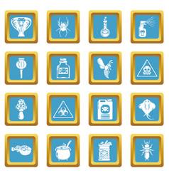 Poison danger toxic icons set sapphirine square vector
