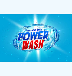 Power wash detergent packaging concept with water vector