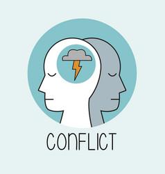 Profile human head conflict vector