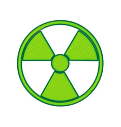 Radiation round sign lemon scribble icon vector