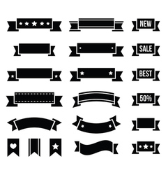 Retro ribbons vintage bookmarks set - vector image