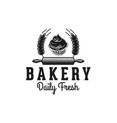 rolling pin cupcake and wheat bakery logo designs vector image