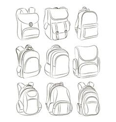 School backpacks set vector