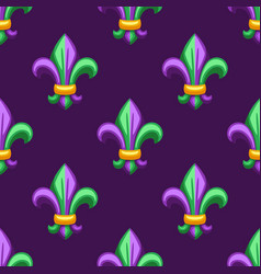 Seamless pattern with fleur de lis in mardi gras vector